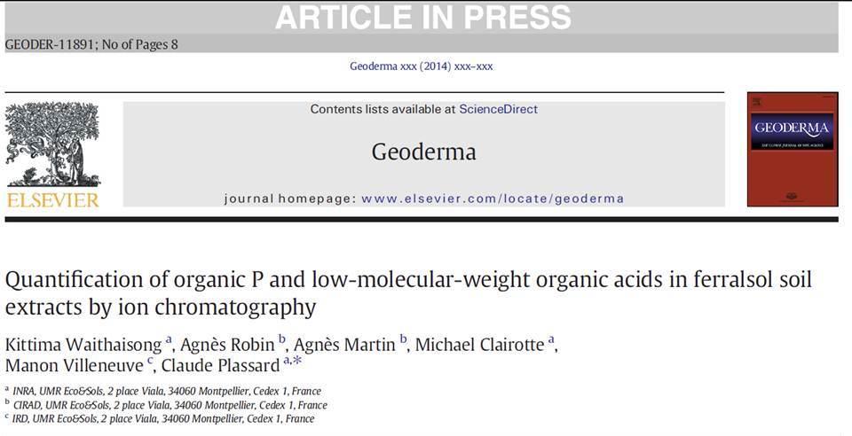 Quantification Of Soil Organic Phosphorus And Low Molecular Weight